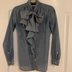 Chambray blouse with tie and ruffle